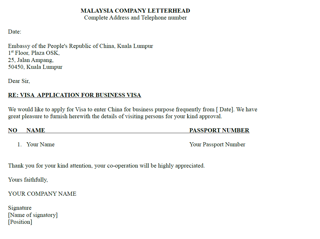 Sample of company letter for business visa tripvisa sample of company letter for business visa letter from malaysia company with letterhead spiritdancerdesigns Images